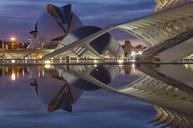 Spain, Valencia, L'Hemisferic, Palau de les Arts Reina Sofia in the evening - OLE00068