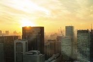 View of city buildings against sky during sunset - CAVF31516