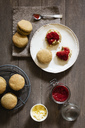Scones made of einkorn wheat with strawberry jam and clotted cream - EVGF03335