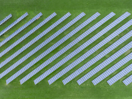 Germany, Bavaria, aerial view of solar panels - MMAF00330