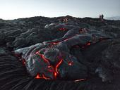 Hawaii, Big Island, Hawai'i Volcanoes National Park, tourists standing on lava field - CVF00325