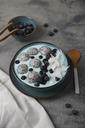 Blue smoothie bowl with grated coconut, blueberries and dragon fruit balls - RTBF01133