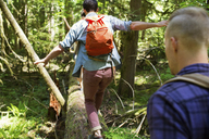 Hikers walking on log in forest - CAVF33452