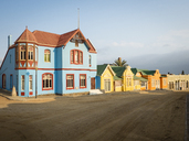 Africa, Namibia, Luederitz, row of colorful houses - RJF00751