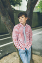 Portrait of boy in checked shirt - FOLF06713