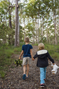Two boys with teddy bears walking through forest - FOLF06821