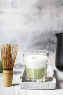 Matcha Latte in tea glass, chasen - SBDF03504