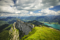 Austria, Salzkammergut, View from Mountain Schafberg to Lake Wolfgangsee - AIF00465