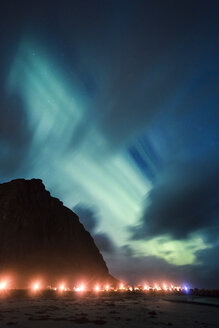 Norway, Lofoten Islands, Eggum, northern lights at the coast - WVF00930
