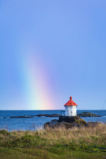 Norway, Lofoten Islands, Eggum, rainbow above the sea - WVF00936