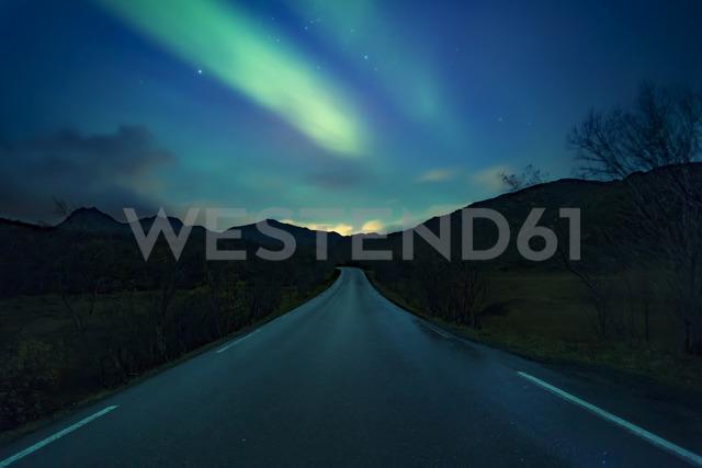 Norway, Lofoten Islands, northern lights above empty road - WVF00963 - Valentin Weinhäupl/Westend61