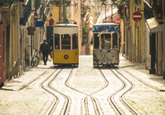 Portugal, Lisbon, Bairro Alto, Elevador da Bica, yellow cable railways - TAM01013