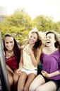 Friends enjoying Ferris wheel ride in amusement park - CAVF34904