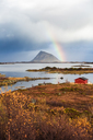 Norway, Lofoten Islands, coast and rainbow - WVF00982