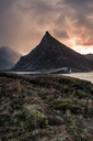 Norway, Lofoten Isands, Fredvang, coast in the evening light - WVF01006