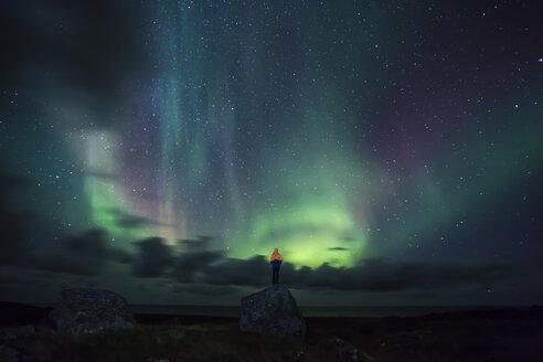 Norway, Lofoten Islands, Eggum, man standing on rock and watching northern lights - WVF01024