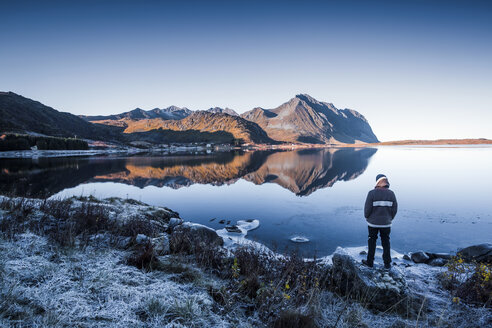 Norway, Lofoten Islands, back view of man standing at water's edge in winter looking at view - WVF01064