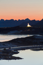 Norway, Lofoten Islands, Leknes, view to illuminated church - WVF01079