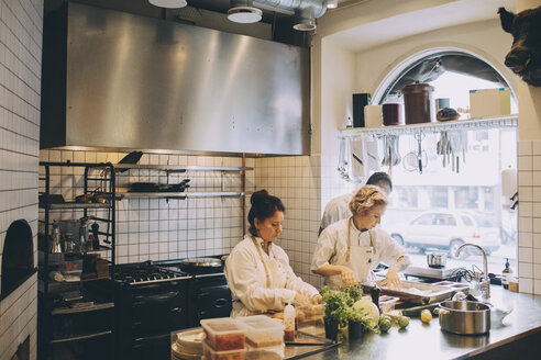 Multi-ethnic chefs preparing food on kitchen counter at restaurant - MASF00877