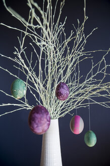 Sprayed twigs with dyed Easter eggs - GISF00314