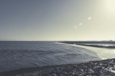 Germany, East Frisia, Neuharlingersiel beach at flood - DWIF00904