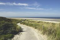 Germany, Spiekeroog, boardwalk through dunesto the beach - DWIF00914