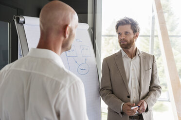 Two businessmen having a discussion at flipchart in office - DIGF03769