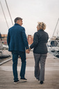 Full length rear view of senior couple holding hands while walking on pier at harbor - MASF01833