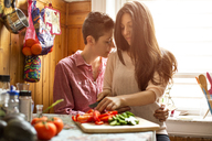 Affectionate lesbian couple sitting in kitchen at home - CAVF35512