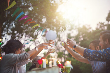 Multi-ethnic friends toasting drinks at garden party - MASF02209