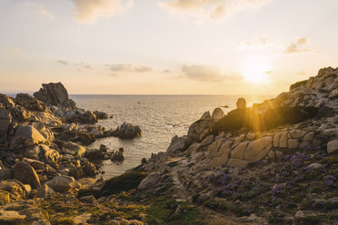 Italy, Sardinia, sunset at the coast - KKAF00966