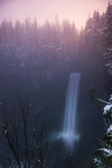 High angle view of Brandywine Falls against trees during sunset - CAVF35722