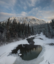 High angle view of lake by trees at Wells Gray Provincial Park - CAVF35746