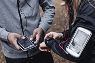 Midsection of athletes using smart watch and mobile phone at forest - MASF02310