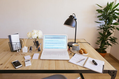 Laptop on desk in a bright and friendly office - EBSF02374