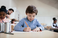 Serious boy studying while sitting in classroom at school - MASF02855