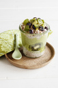 Glass of Chia Pudding with kiwi, berries, granola and Kale Smoothie - EVGF03352