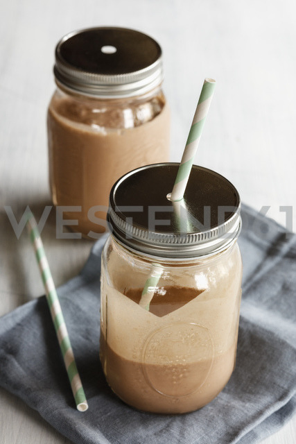 Glasses of Banana Smoothie with peanut flavour - EVGF03364