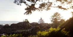 Brockton Point Lighthouse on rocky shore against clear sky - CAVF36287