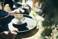 Cropped image of hands holding serving tray with coffee cup in cafe - MASF03131