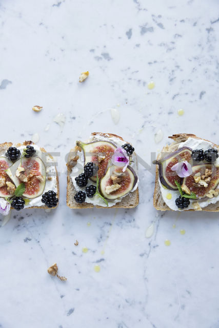 Directly above shot of open faced sandwiches with various fruits - MASF03155