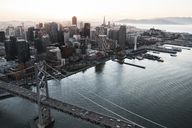 Aerial view of Bay bridge and cityscape - CAVF37517
