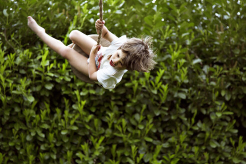 Happy boy swinging in garden - CAVF37832