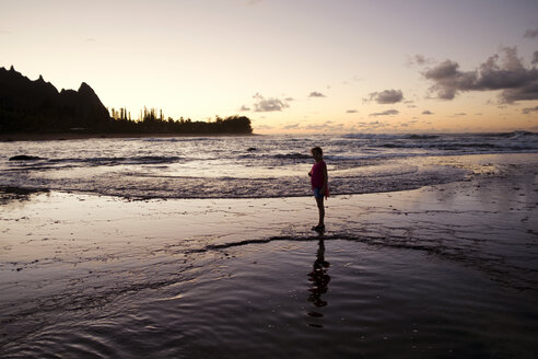 Girl by sea at sunset - CAVF37844