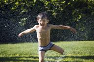 Boy playing in sprinkler - CAVF37910