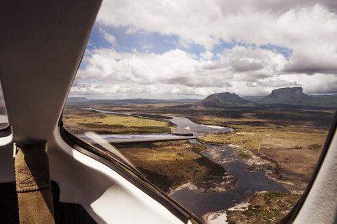 Landscape seen through airplane window - CAVF37967