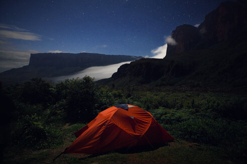 Tent on green mountain at dusk - CAVF37982