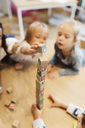 High angle view of children playing with blocks - MASF03516