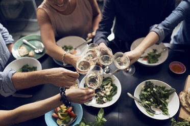 High angle view of multi-ethnic friends toasting wineglasses - MASF03582