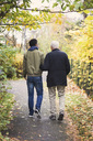 Full length rear view of senior man with caretaker walking in park - MASF03603
